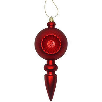 Asstd National Brand 4 Ct 7.5 Matte Red Hot Retro Reflector Shatterproof Christmas Finial Ornaments