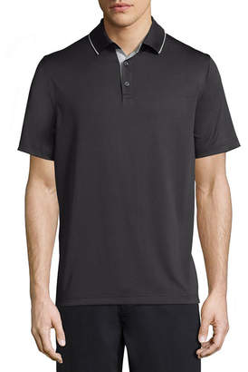 Claiborne Short Sleeve Stripe Knit Polo Shirt