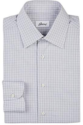 Brioni Men's Checked Cotton Poplin Dress Shirt - Gray