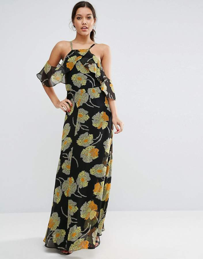Asos Cold Shoulder Floral Cami Maxi Dress
