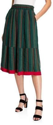 Aspesi Striped Midi Skirt with Pockets