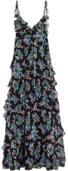 MSGM - Ruffled Floral-print Silk-chiffon Maxi Dress - Black