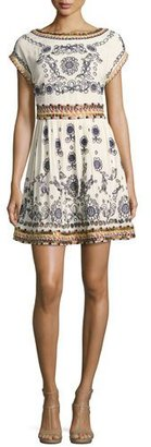 Alice + Olivia Gertie Embroidered Flare Dress, Multi $495 thestylecure.com