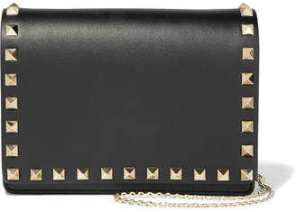 Valentino Garavani The Rockstud Leather Shoulder Bag - Black