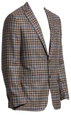 Saks Fifth Avenue COLLECTION Plaid Wool& Silk Basketweave Sportcoat