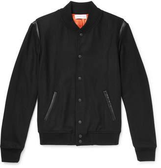 John Elliott Leather-Trimmed Wool-Blend Bomber Jacket