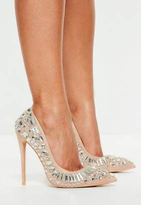 Missguided Nude Jewelled Pumps