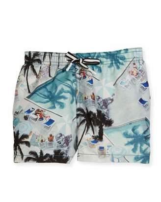 Molo Niko Swimming Pools Board Shorts, Blue, Size 2T-12 $60 thestylecure.com