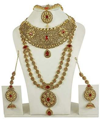 Glamorous MUCHMORE Traditional Bollywood Fashion Polki Necklace Earring Bridal Set Partywear Jewelry