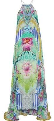 Camilla Bahia Bliss Layered Embellished Printed Silk Crepe De Chine Maxi Dress