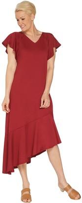 Isaac Mizrahi Live! Regular Pebble Knit Dress with Asymmetric Hem