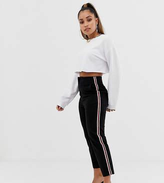 Asos DESIGN Petite cigarette pants in black with side stripe