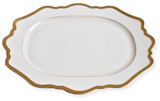 Anna Weatherley Antiqued White Oval Platter