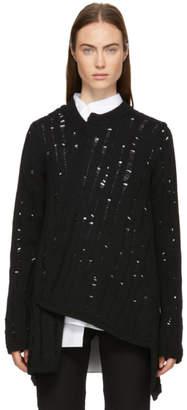 Comme des Garcons Black Wool Asymmetrical Splash Sweater