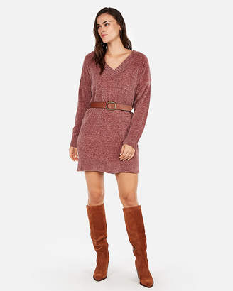 Express V-Neck Shift Sweater Dress
