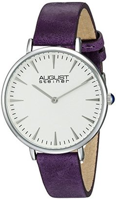 August Steiner Women 's as8187シルバートーンWatch withパープルレザーバンド