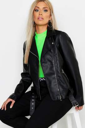 boohoo Plus Belted Faux Leather Biker Jacket