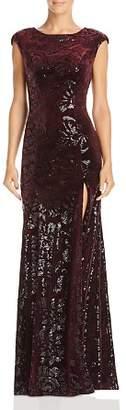 Laundry by Shelli Segal Sequined Velvet Cap-Sleeve Gown