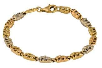 18K Three-Tone Elephant Link Bracelet