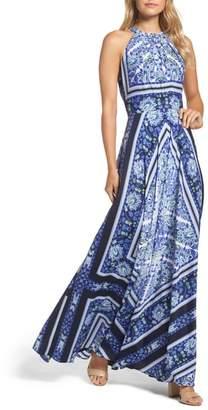 Eliza J Scarf Print Maxi Dress