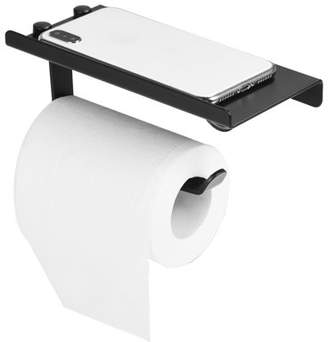Aramox Space Aluminum Toilet Bathroom Paper Holder Phone Shelf Wall Mounted Accessories Black Color, Antique Paper Holder, Wall Mounted Paper Holder