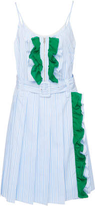 Prada Ruffled Striped Cotton Mini Dress