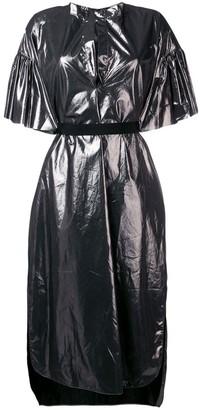 Nude metallic sheen shirt dress