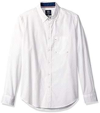 Badger Smith Men's Polka Dot Print Regular Fit Button Down Shirt S