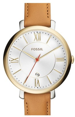 Women's Fossil 'Jacqueline' Round Leather Strap Watch, 36Mm $115 thestylecure.com
