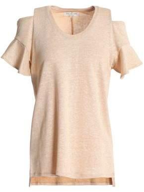 Halston Cold-Shoulder Linen And Cotton-Blend Jersey Top