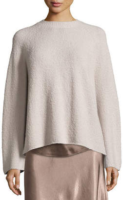 Vince Ladder-Stitched Funnel-Neck Cashmere-Blend Sweater, Charcoal $445 thestylecure.com