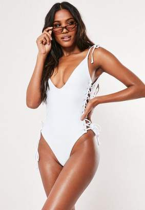 Missguided White Rib Lace Up Plunge Swimsuit