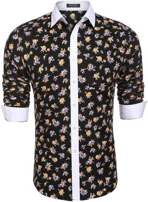 Coofandy Mens Floral Slim Fit Long Sleeve Dress Shirt Casual Tops