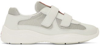 Prada White Leather and Mesh Straps Sneakers