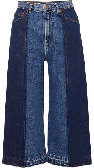 McQ Alexander McQueen - Two-tone Denim Culottes - Mid denim