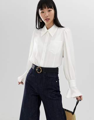 Asos Design DESIGN crinkle shirt with fluted cuff and long sleeves