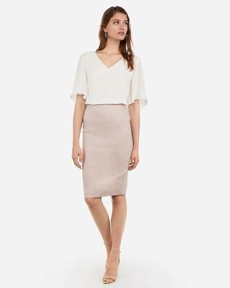 Express High Waisted Linen-Blend Pencil Skirt