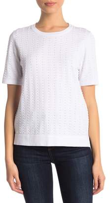 Catherine Malandrino Crew Neck Short Sleeve Textured Sweater (Petite)