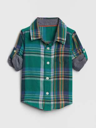 Gap Baby Plaid Convertible Shirt