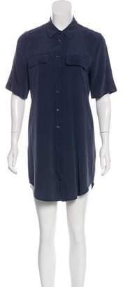 Equipment Silk Button-Up Knee-Length Dress