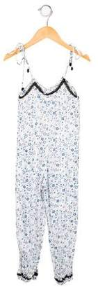 Chach Girls' Floral Print Lace-Trimmed Jumpsuit