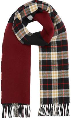 Burberry Reversible Stripe and Check Wool Cashmere Scarf