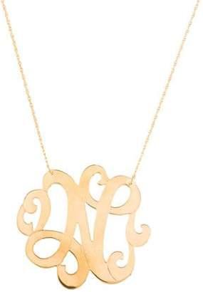 Jennifer Zeuner Jewelry Emily Large Swirly Initial N Pendant Necklace