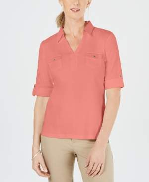 Karen Scott Cotton Cuffed Elbow-Sleeve Top, Created for Macy's