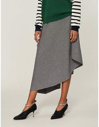 J.W.Anderson Draped asymmetric-hem wool midi skirt