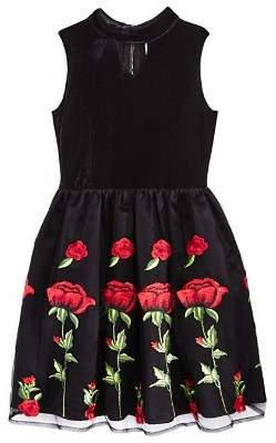 Us Angels Girls' Choker Velvet & Embroidered Dress - Big Kid