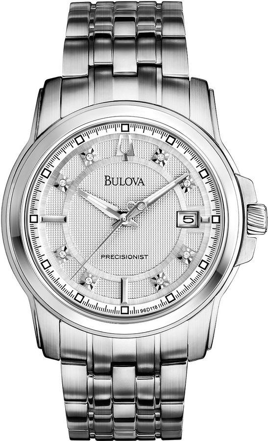 Bulova Precisionist Mens Silver-Tone Diamond-Accent Bracelet Watch 96D118
