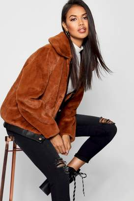 boohoo Faux Leather Trim Faux Fur Coat