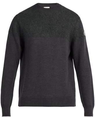 Moncler Crew Neck Wool Sweater - Mens - Dark Grey