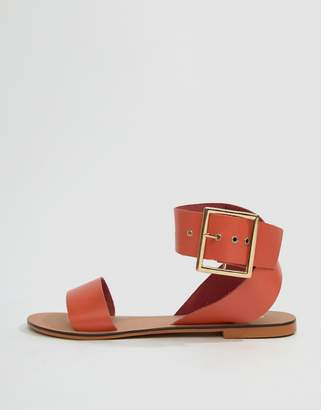 Farah Asos Design ASOS DESIGN Leather Flat Sandals
